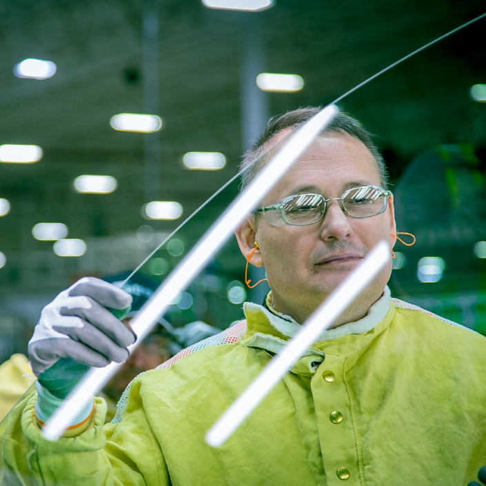 Industrial Photography - Windshield glass quality control in manufacturing facillity