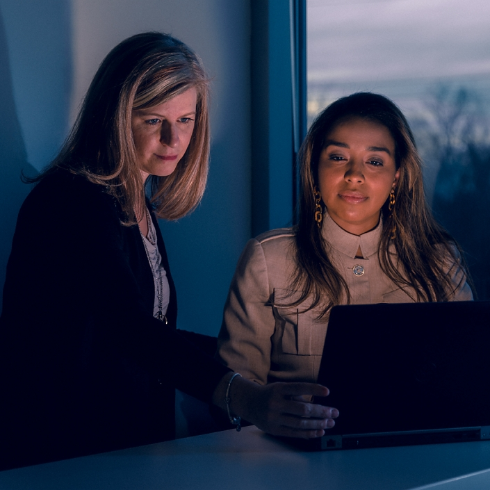 Corporate women working on computer at dusk