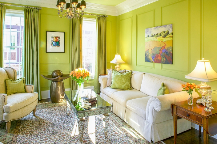 Interior living room of residence with Lime colored walls
