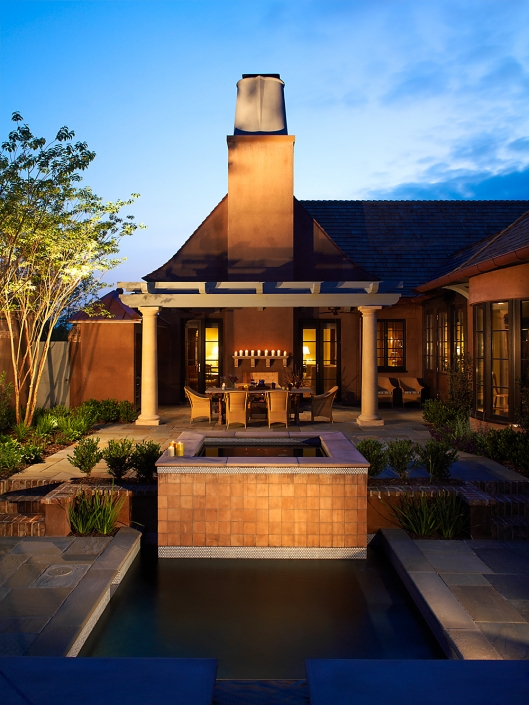 Evening exterior of residential fountain