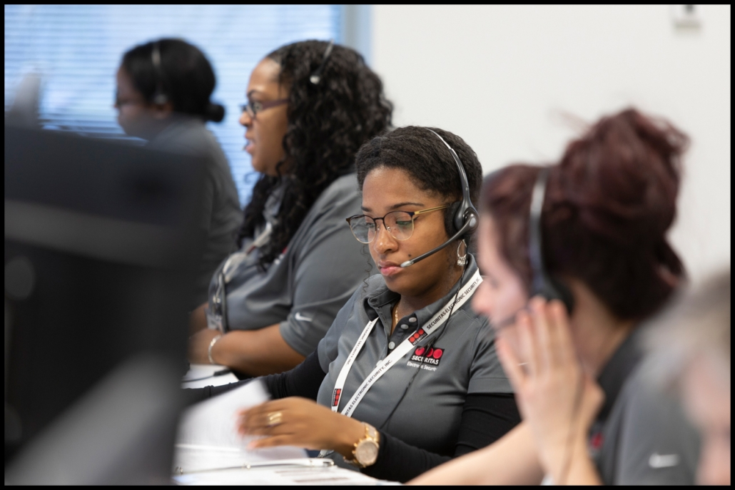 Corporate photography of security company operation call center with employees on location