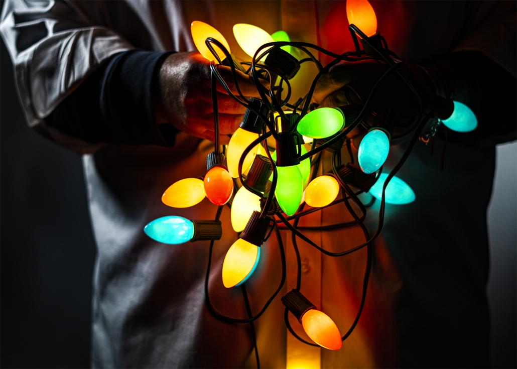 A tangle of holiday lights