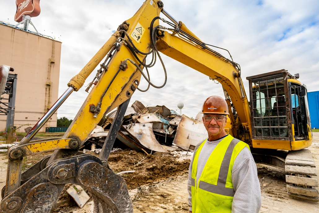 Industrial Photography - Worker on demolition site