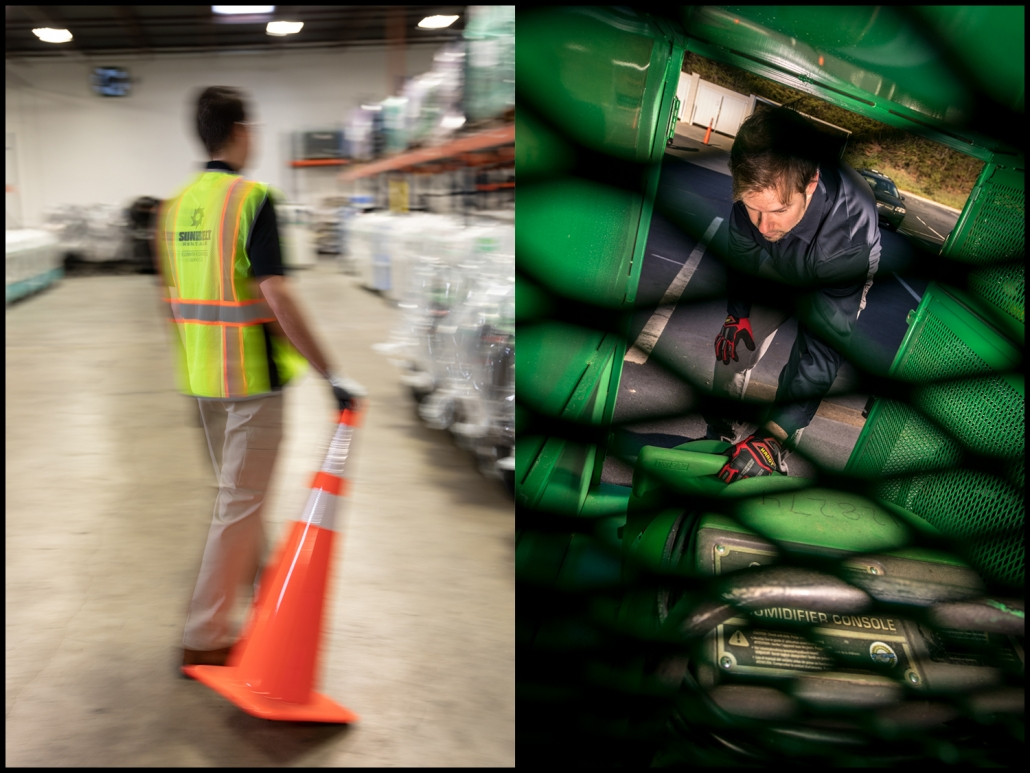 Michael LoBiondo Photography Industrial Photography: Setting of safety cone - checking equipment